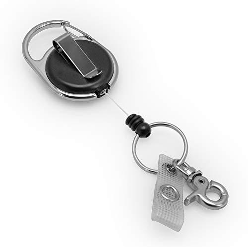 BE-HOLD Schlüssel JoJo, Ausweis JoJo mit extra starker Feder, reißfester Schnur und Schlüsselring, Befestigung mit Gürtelclip oder Karabinerhaken