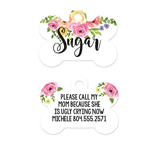 Floral Dog ID Tag, My Mom Is Ugly Crying Pet Tag, Custom Name Flower Dog Tag for Girls