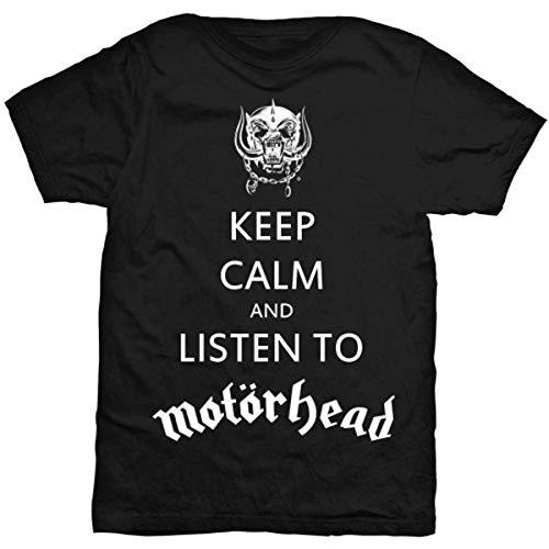 Rock Off Motorhead Keep Calm T-Shirt, Noir-Noir, Medium Homme