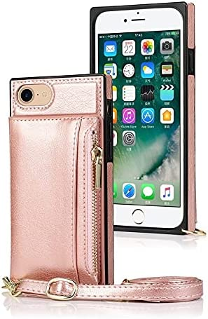SLDiann Case for iPhone SE 2nd Generation 2020, Zipper Wallet Case with Credit Card Holder/Crossbody Long Lanyard, Shockproof Leather TPU Case Cover for iPhone SE2 and iPhone 7/8 (Color : Rosegold)