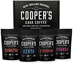 Gourmet Coffee Sampler Gift Box Set   Ground Coffee 4 bags   1lb Total   Single Origin Organic Sumatra Dark, Kenya AA Medium-Dark, Rwanda Medium, Ethiopian Medium-Light,1lb Total