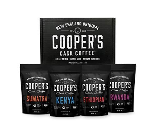 Gourmet Coffee Sampler Gift Box Set | Ground Coffee 4 bags | 1lb Total | Single Origin Organic Sumatra Dark, Kenya AA Medium-Dark, Rwanda Medium, Ethiopian Medium-Light,1lb Total