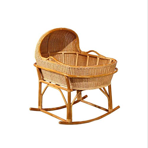 Great Deal! Rattan Baby's Cradle Wooden Bed Rocking Cradle for Newborn Baby Crib Nursery Baby Bed In...