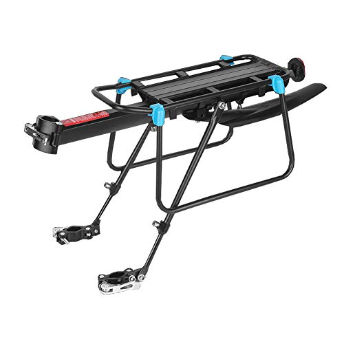 Mountain Bike Pannier Rack - Quick Release Bicycle Luggage Cargo Rack, Adjustable Cycle Rear Carrier Rack, Aluminum Alloy Load 110 LBS, MTB Cycling Accessories with Reflector Fenders