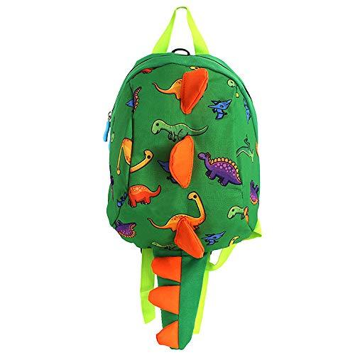 Mega 2-6 Jahre alte kleine Kinder Rucksack 3D Dinosaurier Backpack Kinderrucksäcke Babyrucksack mit Sicherheits-Leine Anti-Lost Daypack für Baby Jungen und Mädchen (Grün)