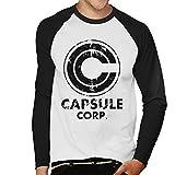 Cloud City 7 Distressed Capsule Corp Logo Dragon Ball Z Men's Baseball Long Sleeved T-Shirt