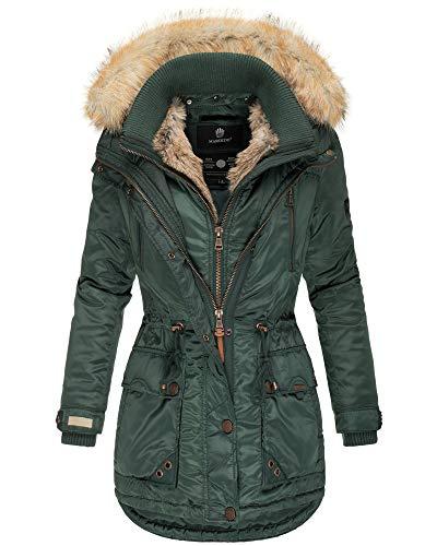 Marikoo Damen Winter Jacke Parka Mantel Kunst-Pelz Kragen Kapuze Warm NEU GRK103 (L, Grün)