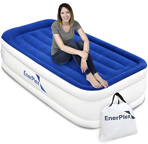 EnerPlex Luxury Twin Air Mattress with Built-in Pump Never-Leak Pillow Top Airbed Twin Size Double High Elevated Blow Up Mattress Inflatable Bed Twin Home Camping Travel, 2-Year Warranty
