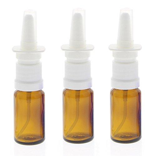 Leere Braunglas Nasenspray-Flasche 10ml mit Fingerzerstäuber, Kosmetex Nasenzerstäuber Vaporizer Nasensprühflasche, 3x 10 ml Braunglas