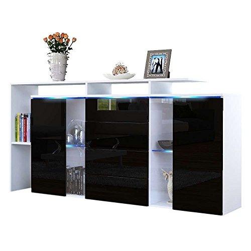 Credenza moderna modello Lecce L160, mobile bianco e nero lucido disponibile in 13 finiture art.3106