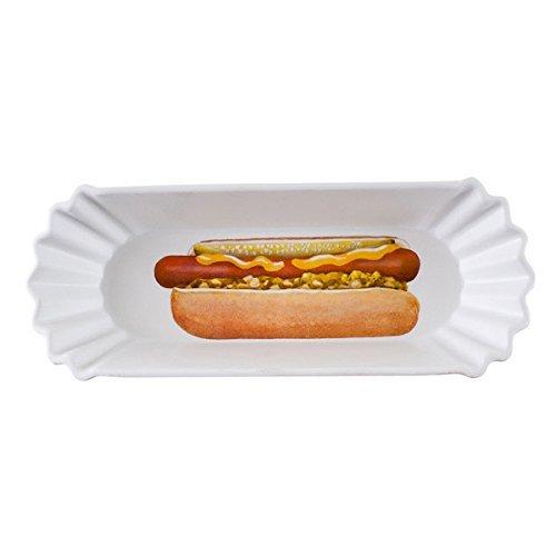¿Qué es? Gran reutilizable de 8pulgadas plato de melamina, perrito caliente bandeja, con diseño de perro caliente por 180grados