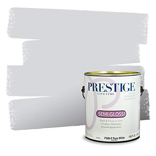 Prestige Paints P500-P-MQ3-25 Interior Paint and Primer in One, 1-Gallon, Semi-Gloss, Comparable Match of Behr Gray, 1 Gallon, B98-Gray Shimmer