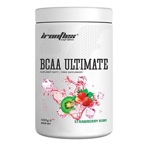 IronFlex BCAA Ultimate - 1 Pack - Branched Chain Amino Acids in Powder - Muscle Regeneration – Anticatabolic – Citrulline Malate (Strawberry Kiwi, 400g)