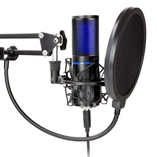 Micrófono USB STRMD, pantalla verde, soporte antichoque, soporte para micrófono trípode, soporte para micrófono de tijera, filtro pop y parabrisas, ideal para Zoom, Skype, Podcast, Twitch y YouTube