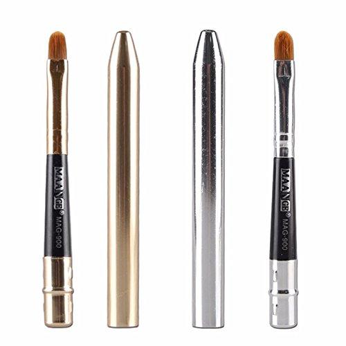 Bluelover Portable Lèvres Brosse Cache-Dents Or Argent Brosses Rétractables Maquillage Cosmétiques Outil - Or