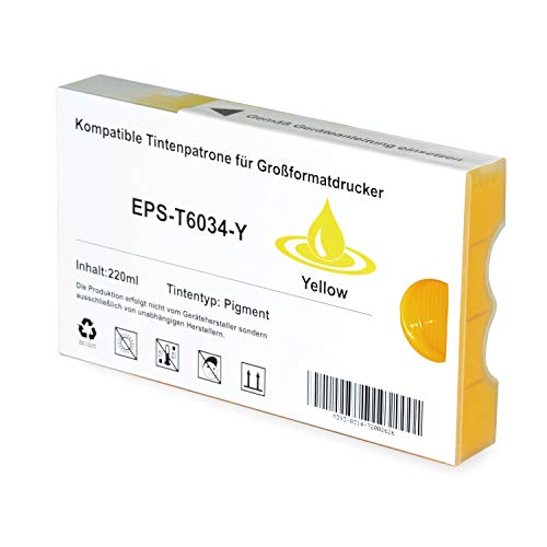 Tintenpatrone kompatibel für Epson Stylus T6034 C13T603400 Pro 7800 7880 9800 9880 Xrite Eye One - Yellow 220ml