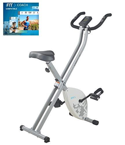 Cadence E-Smartfit 150 - Bicicleta estática plegable unisex, incluye 1 año de iFIT, color blanco y plateado