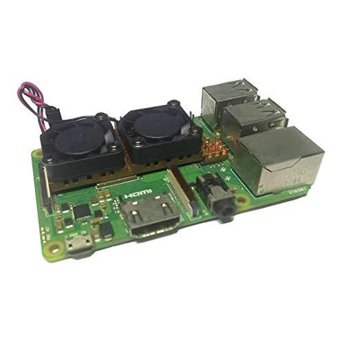Easycargo Raspberry Pi Dual Fan Kupfer Kühlkörper Kit + vorappliziertes Wärmeleitklebeband für Kühlung Raspberry Pi 3 B+, Raspberry Pi 3 B, Raspberry Pi 2, Raspberry Pi B+ (1 Stück)