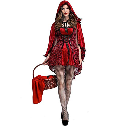 KHDFYER Completino Sexy Donna Hot Costume da Donna Sexy da Fiaba Cappuccetto Rosso Festa di Halloween Abito in Maschera Carnevale Cosplay Esibizioni in Scena Costume-Red_S