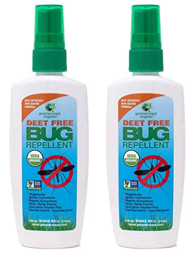 Greenerways Organic Insect Repellent, USDA Organic, Non-GMO, Natural, Mosquito-Repellent, Bug Repellant, Bug Spray, Clothing Safe, Kid Safe, Pet Safe, Baby Safe, DEET-FREE (2 PACK DEAL, 4OZ) $23.98
