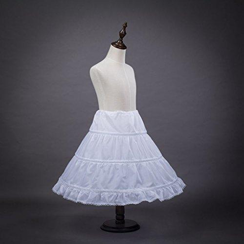 Cancán para niña de 2 a 14 años, crinolina con borde de encaje y 3 capas, 50cm de largo, color blanco