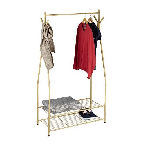 Relaxdays kledingrek Sandra kledingstang opbergen 2 vakken schoenen laarzen metaal HxBxD: 162 x 90 x 40 cm, honingbruin