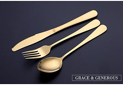 3 stuks X Oneindig Grote Home Decor Center Creatieve Gouden Lepel Hoge Kwaliteit RVS Dessert Koffie Bestek Sets (Steak Mes + Vork + Scherpe Lepel)