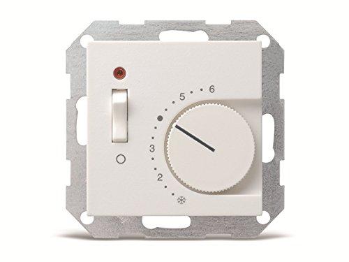 Gira 039203 Raumtemperatur-Regler mit Öffner und Kontroll-Lampe ST55, reinweiß-glänzend
