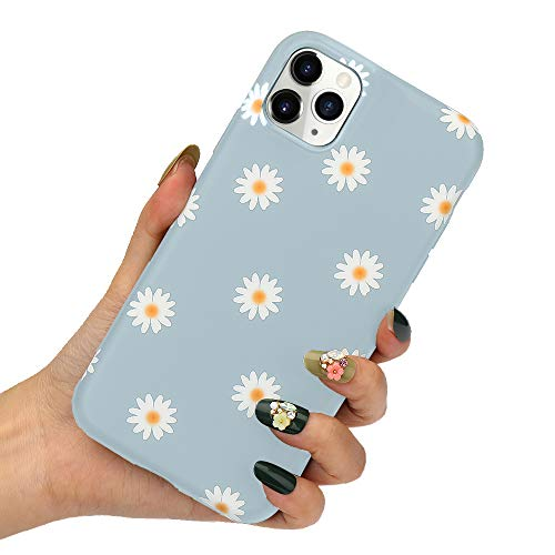 LLZ.COQUE for iPhone 11 Case Cute Daisy Flowers Phone Case Soft Silicone Slim Fit Cute Floral Print Bumper Hybrid Protective Matte Case for iPhone 11, Grey