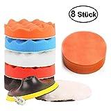 Esponja Pulir para Coche, 8Pcs 4 Inch Kit de esponja de pulido con adaptador de taladro y almohadillas de cera de lana, juego de almohadillas de pulir para coche, pulidor y depilación