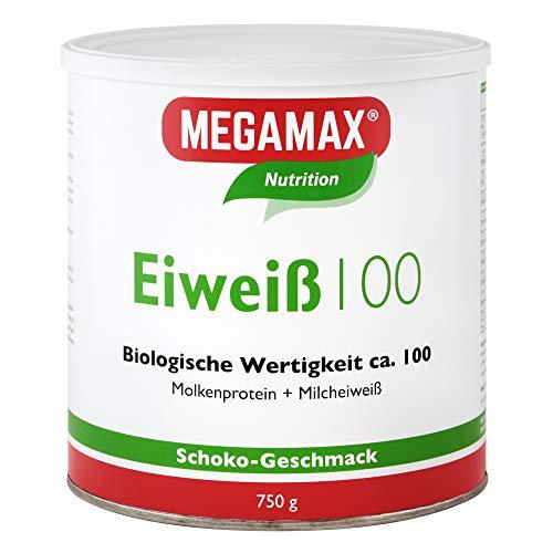 Megamax Eiweiss Schoko 750 g | Molkenprotein + Milcheiweiß Für Muskelaufbau ,Diaet | 2k-Eiweiss ideal zum Backen | hochwertiges Low Carb Eiweiß-Shake | aspartamfrei Protein mit Aminosäuren