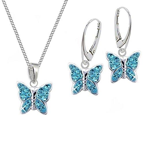 GH* KIDS Blau Kristall Schmetterling BRISUR OHRRINGE + ANHÄNGER + KETTE 925 Echt Silber Mädchen Baby Kinder SET (45)