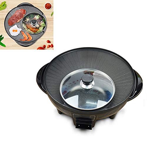 Dual-Purpose Barbecue Hot Pot, Huishoudelijke Barbecue Koekenpan, 1600W 2 in 1 barbecue grill met 5 niveaus van Temperatuur instellen, Visual Glass Cover