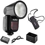【Godox正規代理&技適マーク】Godox V1-P フラッシュストロボ PERGEAR収納バッグセット 76Ws 2.4G TTLラウンドヘッドフラッシュスピードライト 1/8000 HSS 480フルパワーショット10レベルLEDモデリングランプ Pentaxカメラ対応
