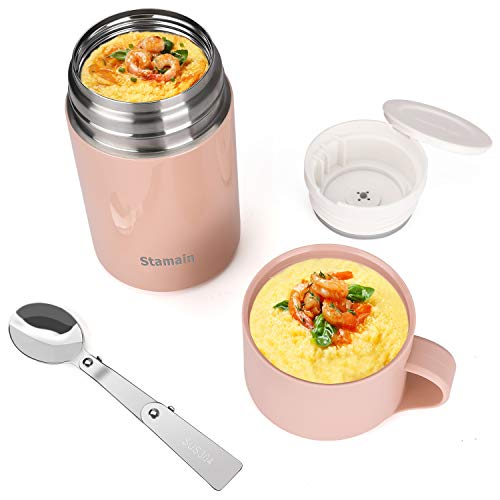 Insulated Lunch Container Hot Food Jar, 20oz Stainless Steel Vacuum Hot & Cold Food with Folding Spoon, Leak Proof Lunch Box Soup with Spoon for School,Office,Picnic,Travel Outdoors