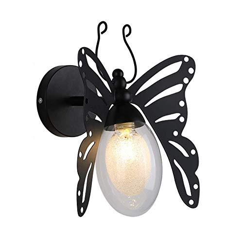 Lampe De Mur Rétro Papillon De Bande Dessinée Moderne, Applique Murale En Fer Forgé Led For Le Salon Chambre Couloir Applique Murale G9, Noir (Color : Black)