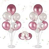 Colmanda Ballon Ständer Stick Kit, 2 Set Ballon Dekoration Desktop Ballon Halter Partyzubehör Luftballons Ständer Halter für Geburtstagsfeier und Hochzeitsdekorationen Weihnachten
