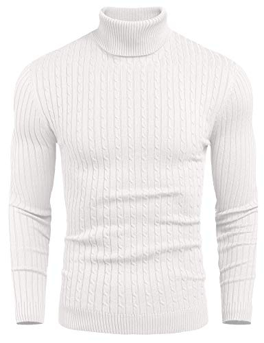 nine bull Mens Slim Fit Turtleneck Sweater Cable Knit Thermal Pullover Sweater, White,L