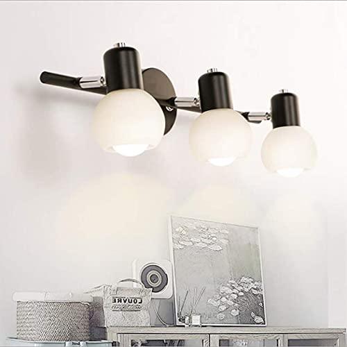 WENHAO Lámpara de la luz de la pared de la sombra de cristal clásica, lámpara de pared de tocador de baño negro, E27 3-Light Wall Sponces para dormitorio Sala de estar Comedor / Código de productos bá