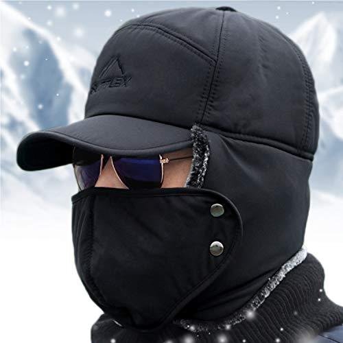 Gorro de invierno resistente al viento con máscara para la boca, gorro de soldado térmico con capucha y orejeras -  Gris -  talla única