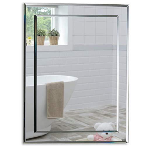 Neue Design Schöner rechteckiger Badezimmerspiegel, modern und stylish, 2 Lagen Glass, mit abgerundeten Kanten, Wandbefestigung, Badspiegel, Wandspiegel, abgeschrägte Kante, Spiegel 50cm x 40cm