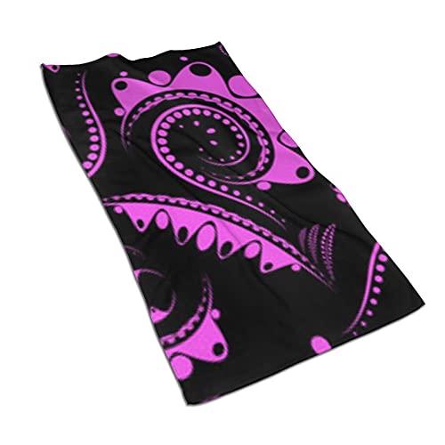 Toallas de microfibra de color lila con fondo negro, suaves, superabsorbentes y sin pelusas, 27.5 x 15.7 pulgadas