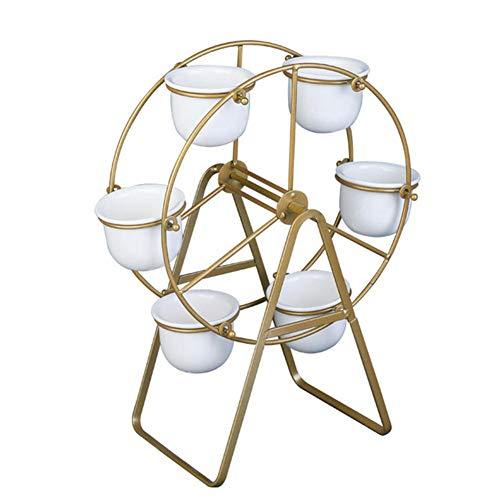 Wonderday Bloempotstandaard in te stellen, Nordic Ferris bloempot ijzeren keramiek bloempot bloempot bloempot voor thuis of op kantoor, modieuze goud