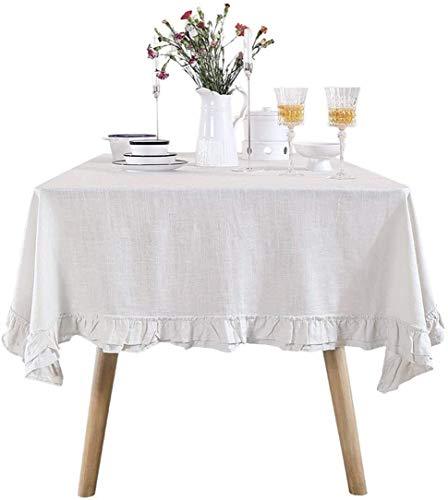 Doek tafelkleed van stof, rond, effen kleuren, eenvoudig tafelkleed (kleur: wit, grootte: 130 x 130 cm), grootte: 140 x 200 cm, kleur: wit, modern, eenvoudig