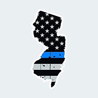 fagraphix Distressed Thin Blue Line New Jersey State Shaped Subdued US Flag Sticker Decal Self Adhesive Police Support NJ 2.31
