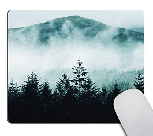Smooffly Gaming Mouse Pad Custom Misty Forest with Mountains Mousepad Non-Slip Rubber Rectangle Mouse Pads for Computers Laptop 9.5 X 7.9 Inch (240mmX200mmX3mm)
