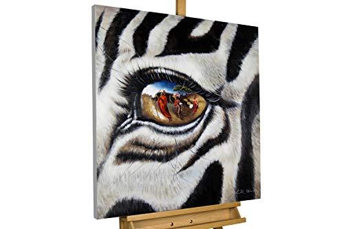 KunstLoft® Gemälde \'Stilles Gewissen\' in 80x80cm | Leinwandbild handgemalte Bilder | Zebra Afrika Motiv Schwarz Weiss groß XXL Deko | signiertes Wandbild-Unikat | Acrylgemälde auf Leinwand | Modernes Kunst Bild | Original Acrylbild auf Keilrahmen