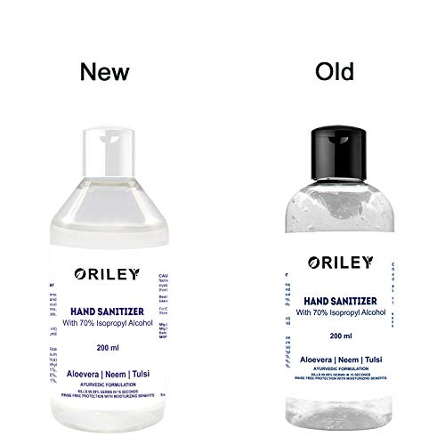 ORILEY Waterless Hand Sanitizer 70% Isopropyl Alcohol Based Instant Germ Protection Sanitizing Gel Rinse-free Palm Cleaner Handrub (200ml)