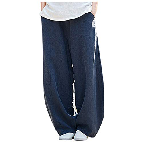 Lowest Price! Cotton Linen Pants for Women - Extra Wide Leg Lounge Pants Elastic Waist Pants with Po...