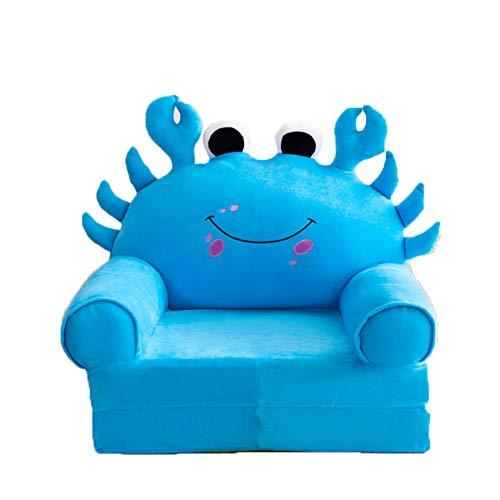 PUDDINGT Sillón para Niños, Sofá para Niños Dibujos Animados Niña y Niño Regalo de Cumpleaños Juguete Lazy Tapizado Lindo Bebé Sofá Pequeño Asiento Silla para Niños Lavable,Azul